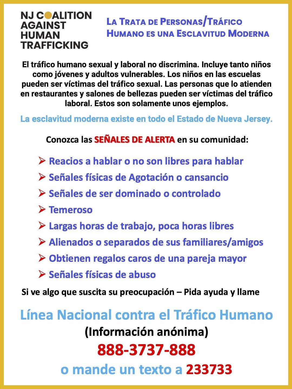 Red Flags of Human Trafficking in SPANISH en Espanol REBRAND